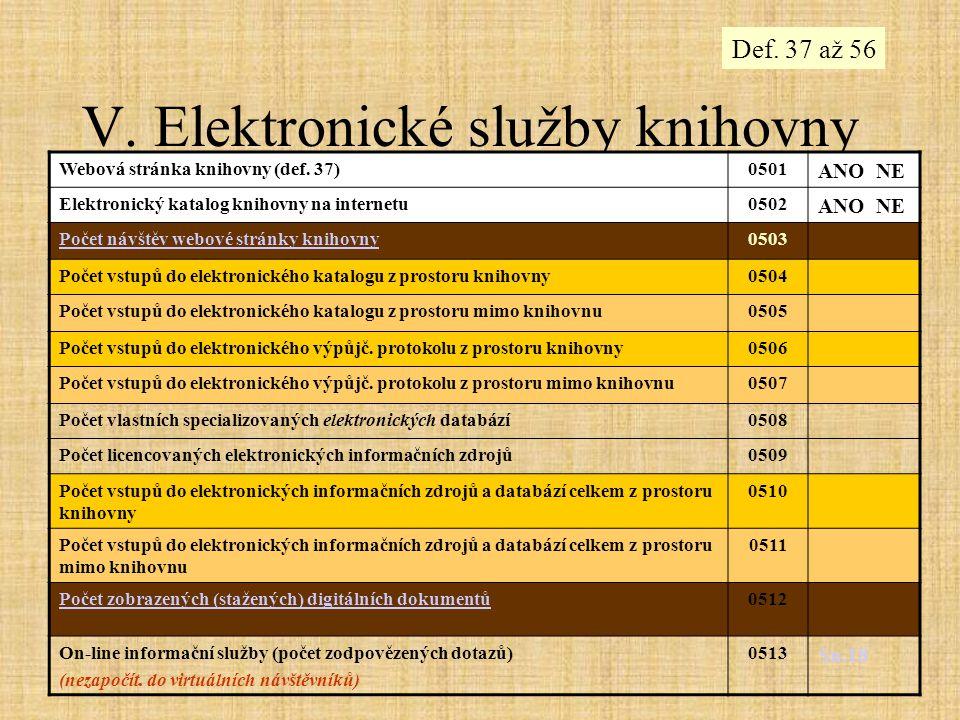 V. Elektronické služby knihovny Webová stránka knihovny (def. 37)0501 ANO NE Elektronický katalog knihovny na internetu0502 ANO NE Počet návštěv webov