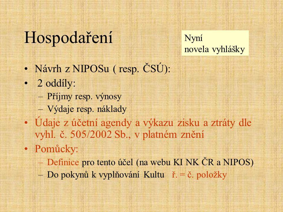 Hospodaření Návrh z NIPOSu ( resp. ČSÚ): 2 oddíly: –Příjmy resp. výnosy –Výdaje resp. náklady Údaje z účetní agendy a výkazu zisku a ztráty dle vyhl.