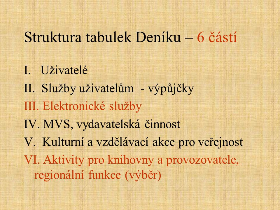 Struktura tabulek Deníku – 6 částí I. Uživatelé II. Služby uživatelům - výpůjčky III. Elektronické služby IV. MVS, vydavatelská činnost V. Kulturní a