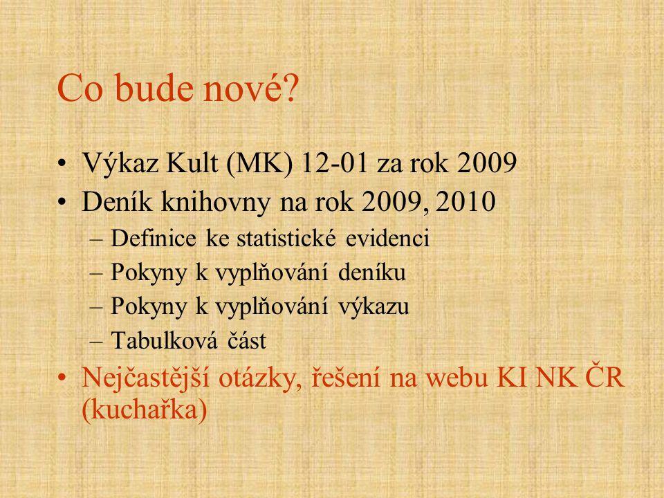 Co bude nové? Výkaz Kult (MK) 12-01 za rok 2009 Deník knihovny na rok 2009, 2010 –Definice ke statistické evidenci –Pokyny k vyplňování deníku –Pokyny
