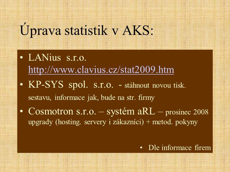 Úprava statistik v AKS: LANius s.r.o. http://www.clavius.cz/stat2009.htm http://www.clavius.cz/stat2009.htm KP-SYS spol. s.r.o. - stáhnout novou tisk.