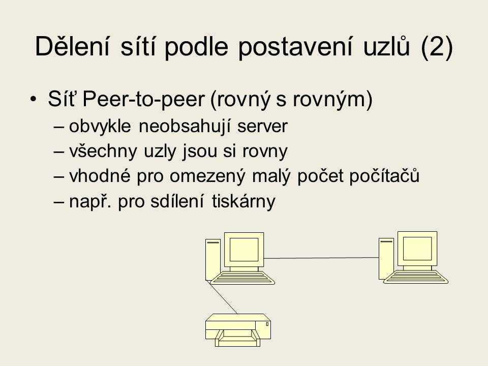 Dělení sítí podle postavení uzlů (2) Síť Peer-to-peer (rovný s rovným) –obvykle neobsahují server –všechny uzly jsou si rovny –vhodné pro omezený malý počet počítačů –např.