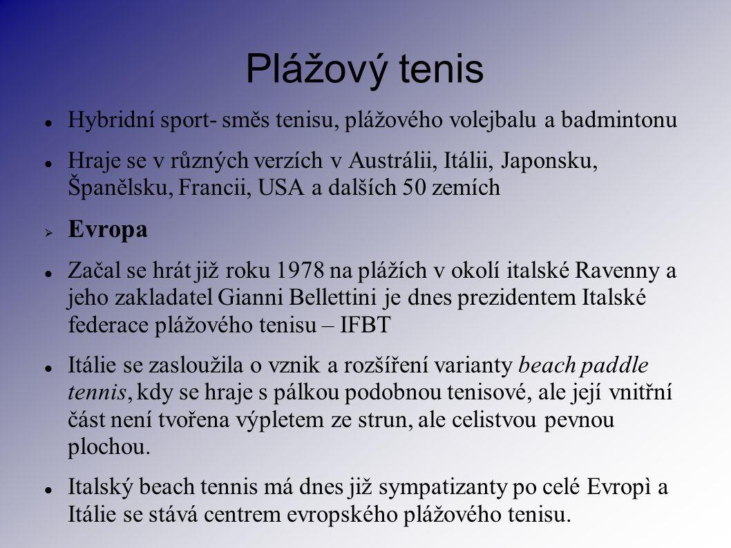 Plážový tenis Hybridní sport- směs tenisu, plážového volejbalu a badmintonu Hraje se v různých verzích v Austrálii, Itálii, Japonsku, Španělsku, Franc