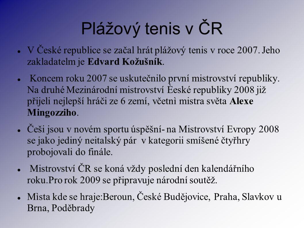Plážový tenis v ČR V České republice se začal hrát plážový tenis v roce 2007. Jeho zakladatelm je Edvard Kožušník. Koncem roku 2007 se uskutečnilo prv