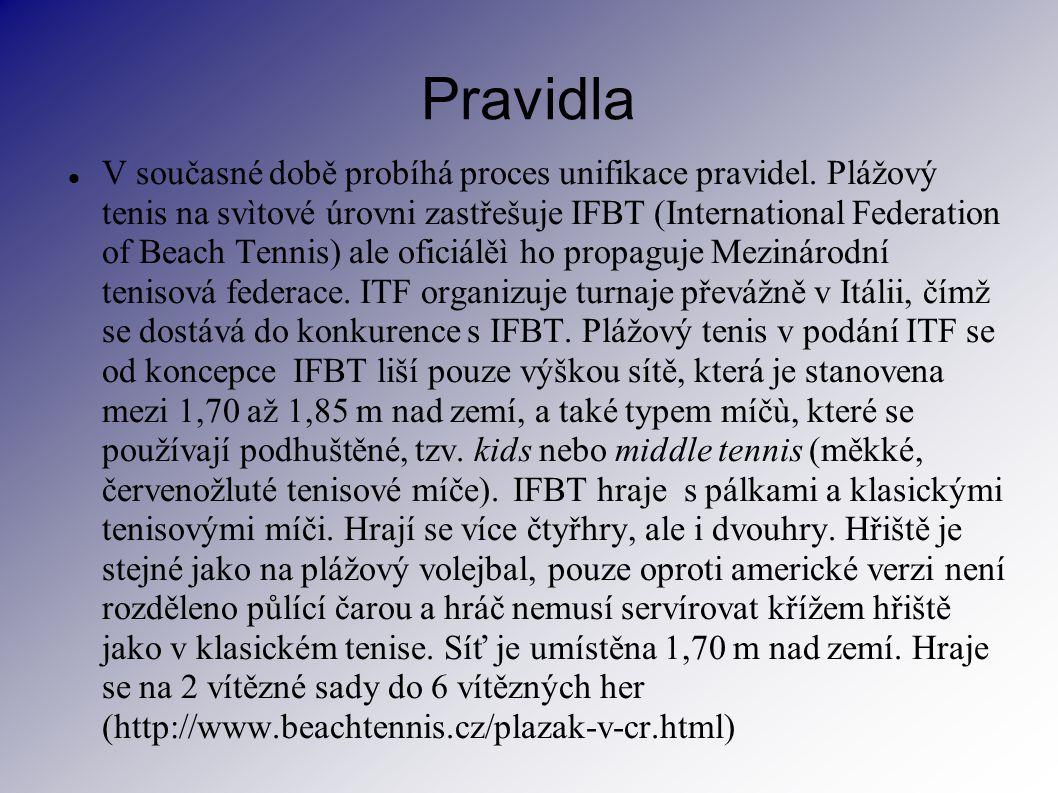 Pravidla V současné době probíhá proces unifikace pravidel. Plážový tenis na svìtové úrovni zastřešuje IFBT (International Federation of Beach Tennis)