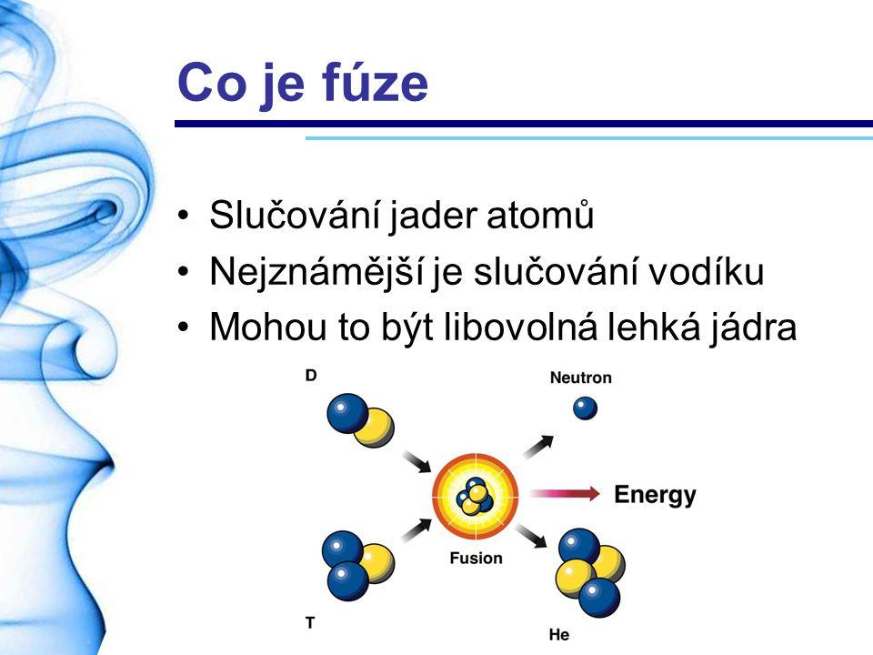 Inerciální udržení Malá vodíková bomba Lasery stlačí deuteriovou kuličku Kulička imploduje V centru se zažehne fúze 1mg paliva = 75 kg TNT