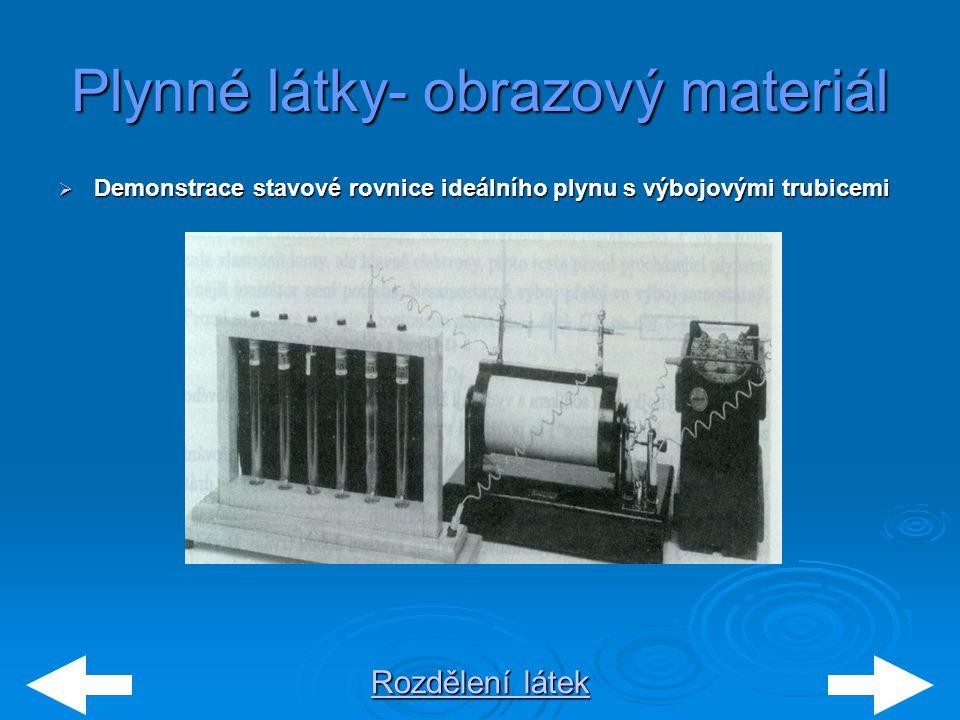 Rozdělení látek Rozdělení látek Plynné látky- obrazový materiál  Demonstrace stavové rovnice ideálního plynu s výbojovými trubicemi