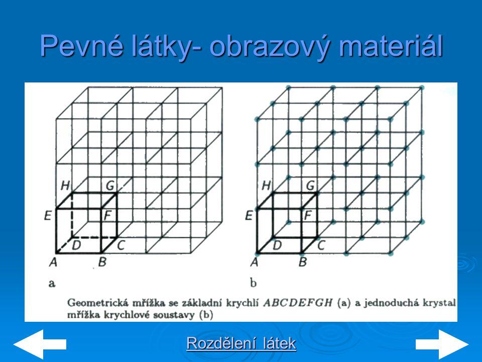 Rozdělení látek Rozdělení látek Pevné látky- obrazový materiál