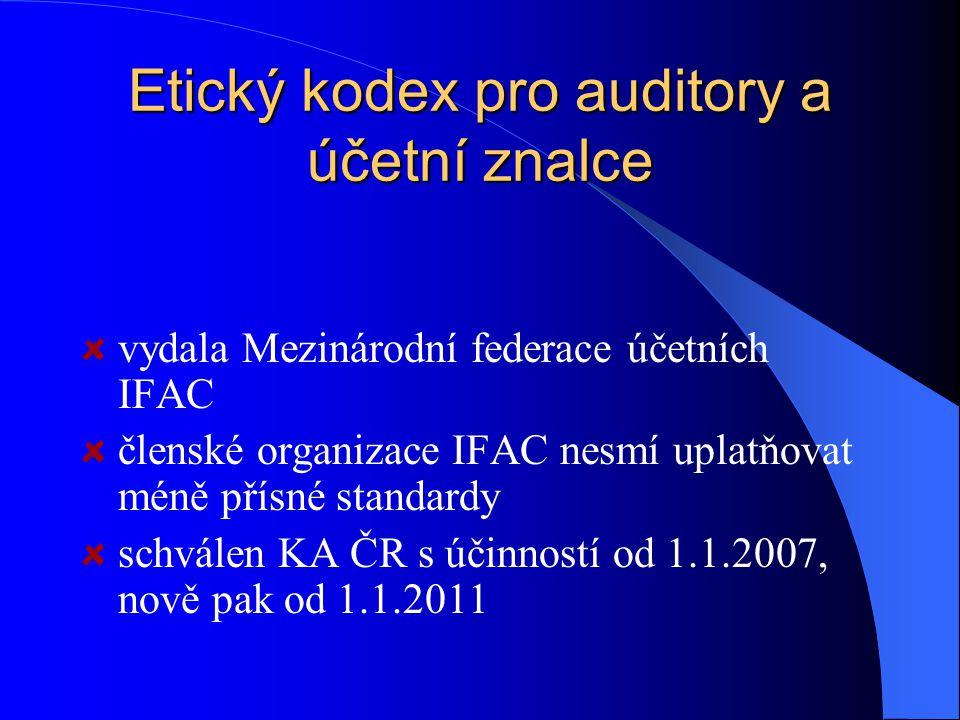 Další oblasti upravené Etickým kodexem Získávání zakázek - akceptace klienta, akceptace zakázky, změny Konflikty zájmů - služby klientům, jejichž zájmy jsou v konfliktu - souhlas klienta, oddělené týmy, uložení dat Alternativní stanoviska - poskytnutí dalšího stanoviska nebo vyjádření k subjektu, který není klientem - kontaktování stávajícího auditora