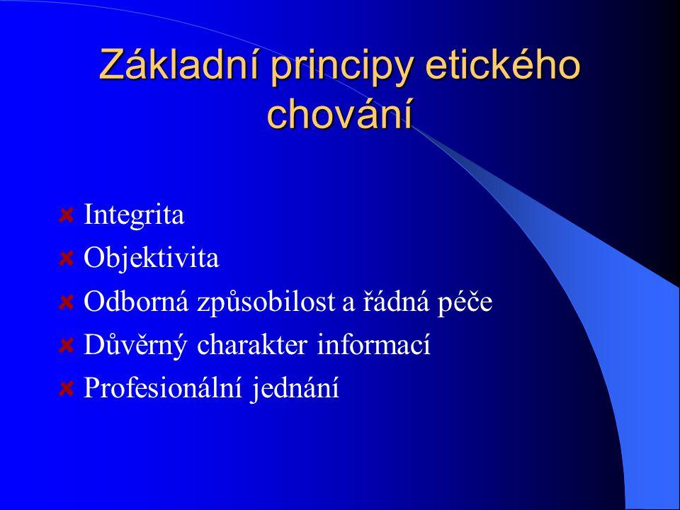 Základní principy etického chování Integrita Objektivita Odborná způsobilost a řádná péče Důvěrný charakter informací Profesionální jednání