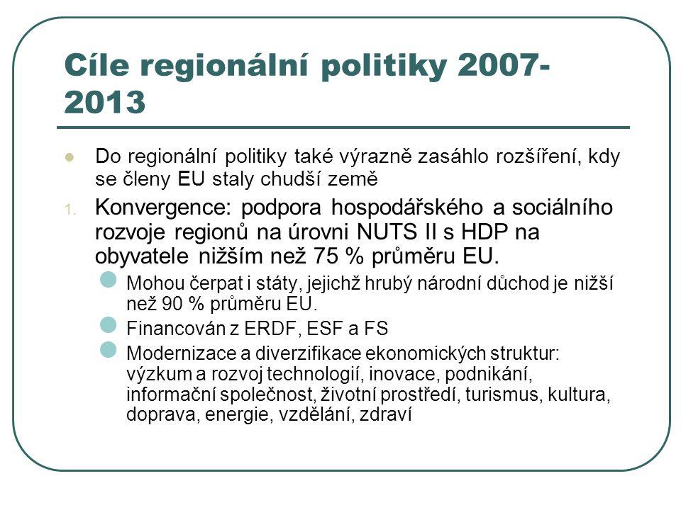 Cíle regionální politiky 2007- 2013 Do regionální politiky také výrazně zasáhlo rozšíření, kdy se členy EU staly chudší země 1. Konvergence: podpora h