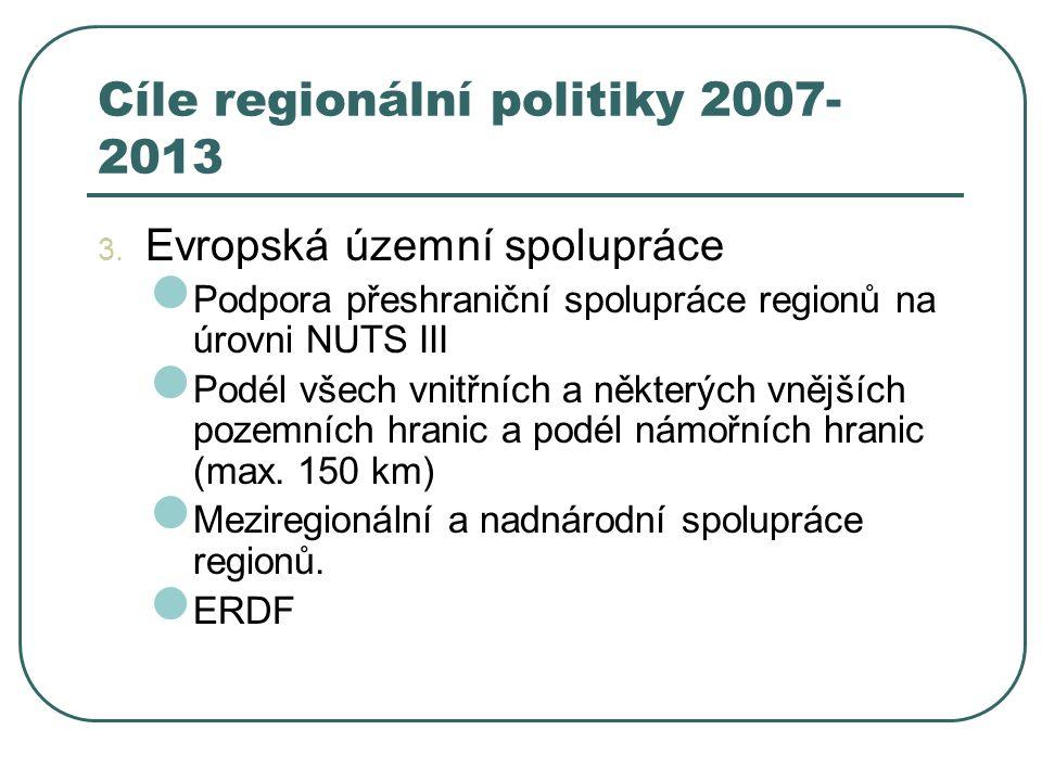 Cíle regionální politiky 2007- 2013 3. Evropská územní spolupráce Podpora přeshraniční spolupráce regionů na úrovni NUTS III Podél všech vnitřních a n