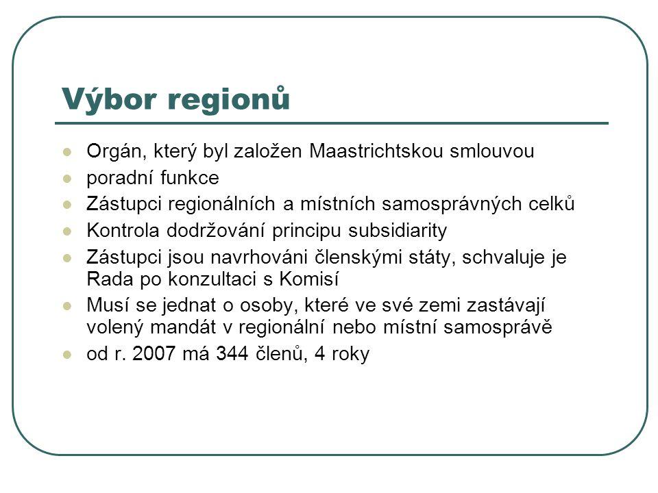 Výbor regionů Orgán, který byl založen Maastrichtskou smlouvou poradní funkce Zástupci regionálních a místních samosprávných celků Kontrola dodržování