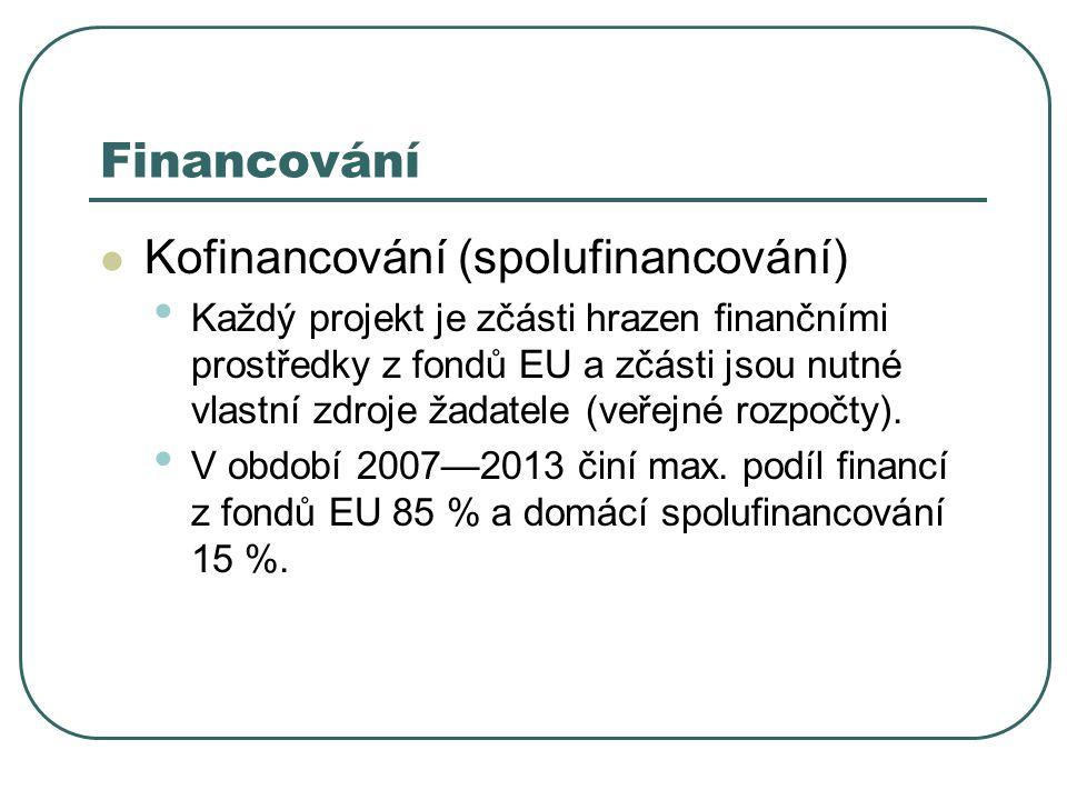 Kofinancování (spolufinancování) Každý projekt je zčásti hrazen finančními prostředky z fondů EU a zčásti jsou nutné vlastní zdroje žadatele (veřejné