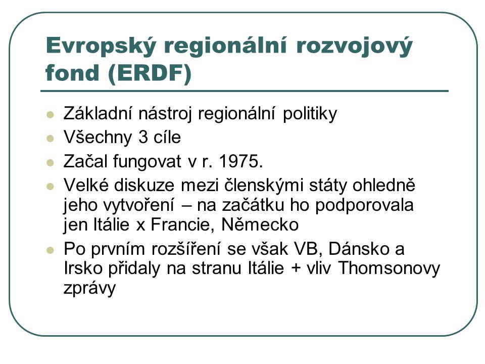 Evropský regionální rozvojový fond (ERDF) Základní nástroj regionální politiky Všechny 3 cíle Začal fungovat v r. 1975. Velké diskuze mezi členskými s