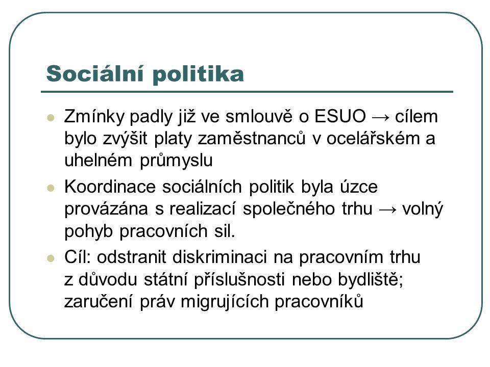 Sociální politika Zmínky padly již ve smlouvě o ESUO → cílem bylo zvýšit platy zaměstnanců v ocelářském a uhelném průmyslu Koordinace sociálních polit
