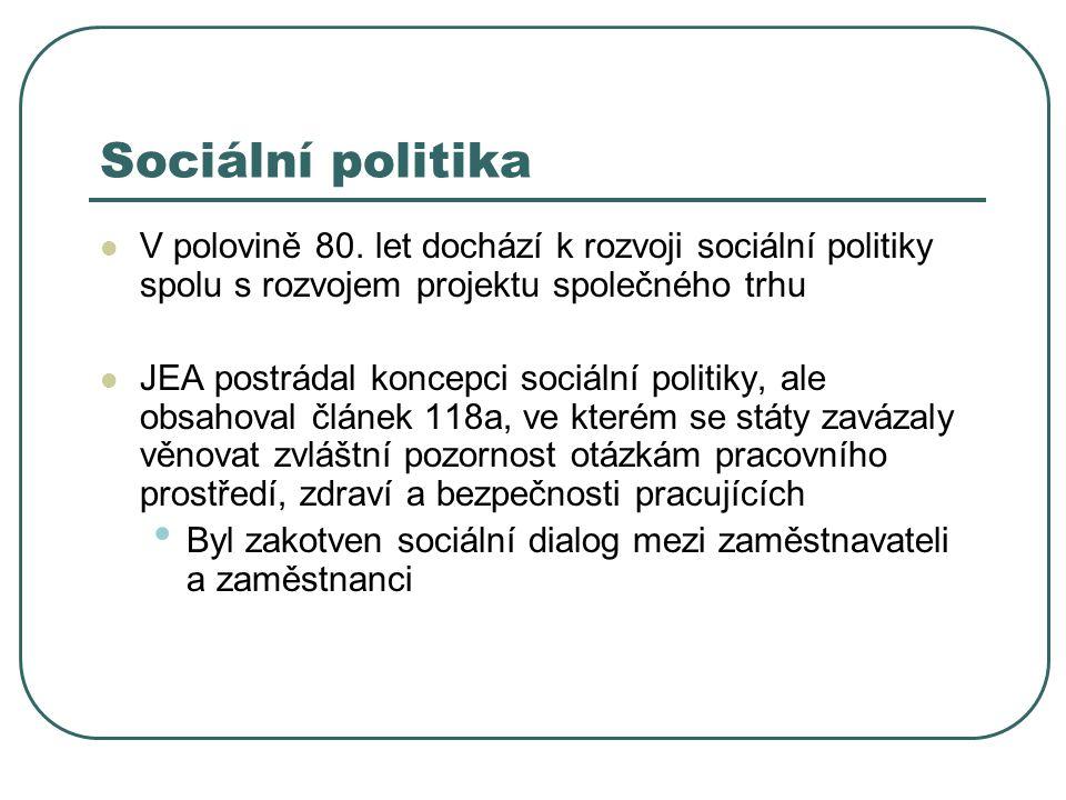 Sociální politika V polovině 80. let dochází k rozvoji sociální politiky spolu s rozvojem projektu společného trhu JEA postrádal koncepci sociální pol