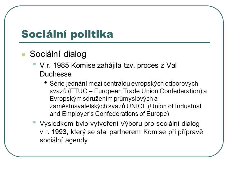 Sociální politika Sociální dialog V r. 1985 Komise zahájila tzv. proces z Val Duchesse Série jednání mezi centrálou evropských odborových svazů (ETUC