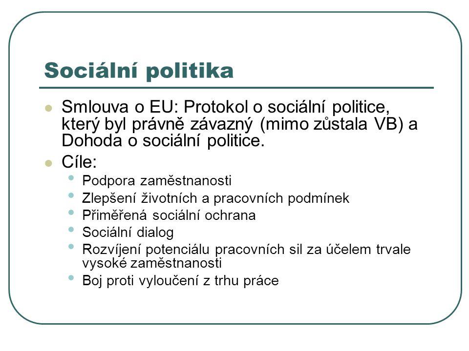 Sociální politika Smlouva o EU: Protokol o sociální politice, který byl právně závazný (mimo zůstala VB) a Dohoda o sociální politice. Cíle: Podpora z
