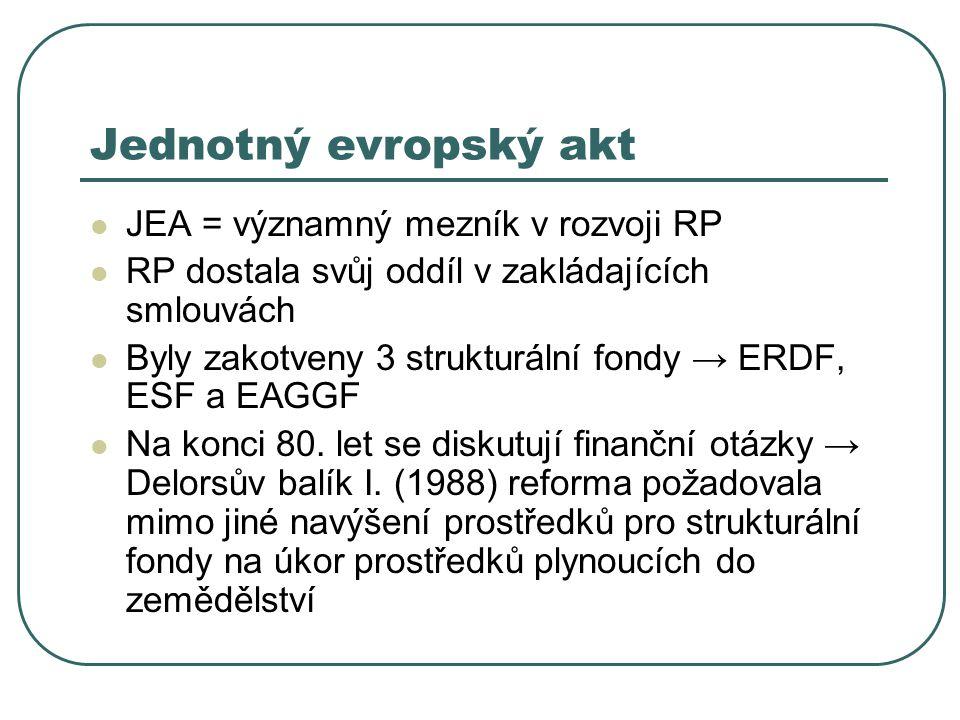Jednotný evropský akt JEA = významný mezník v rozvoji RP RP dostala svůj oddíl v zakládajících smlouvách Byly zakotveny 3 strukturální fondy → ERDF, E