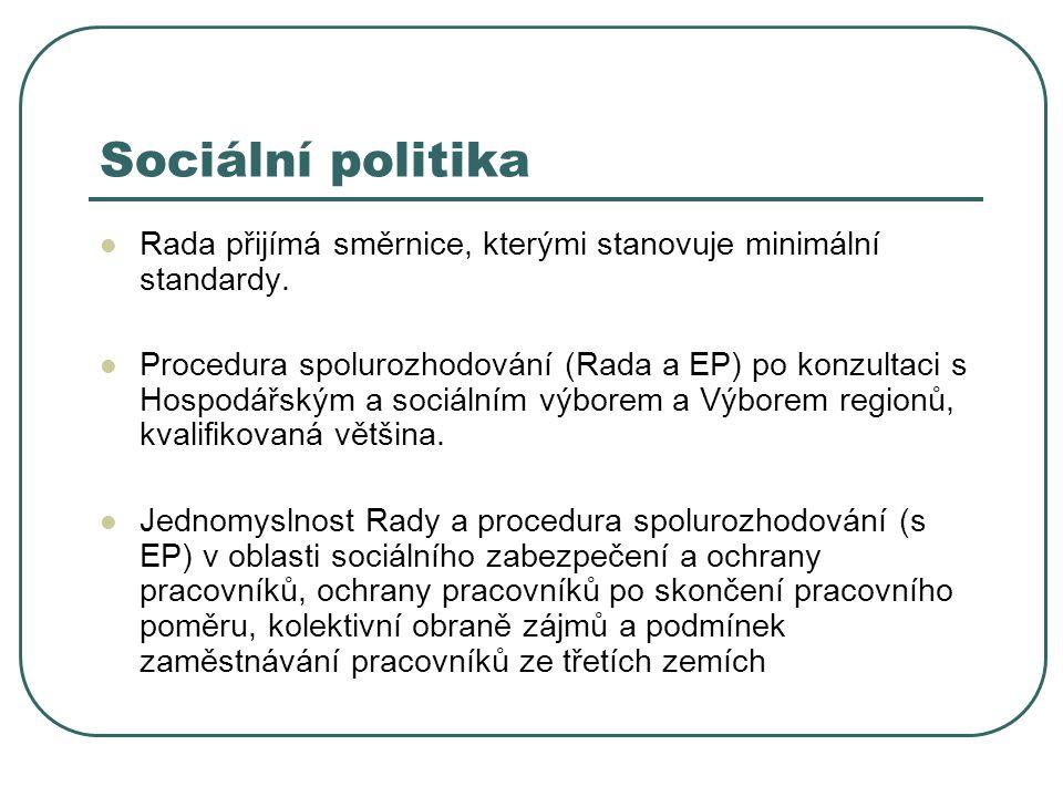 Sociální politika Rada přijímá směrnice, kterými stanovuje minimální standardy. Procedura spolurozhodování (Rada a EP) po konzultaci s Hospodářským a