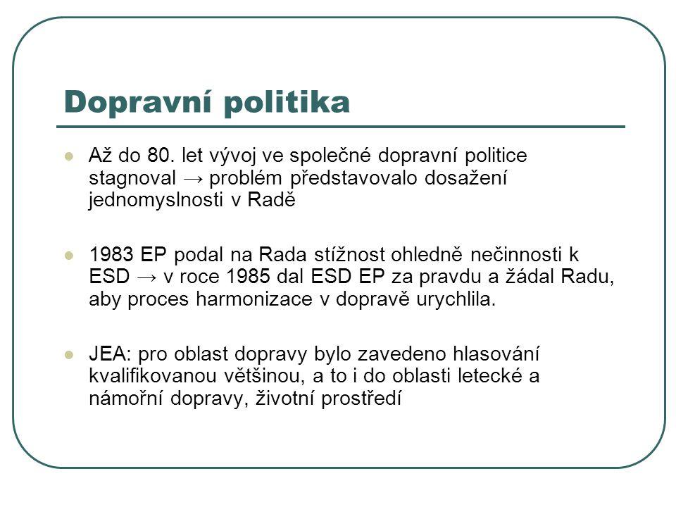 Dopravní politika Až do 80. let vývoj ve společné dopravní politice stagnoval → problém představovalo dosažení jednomyslnosti v Radě 1983 EP podal na