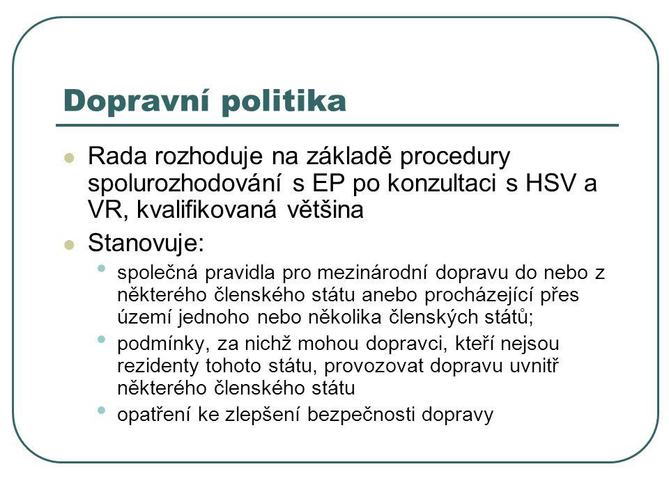 Dopravní politika Rada rozhoduje na základě procedury spolurozhodování s EP po konzultaci s HSV a VR, kvalifikovaná většina Stanovuje: společná pravid