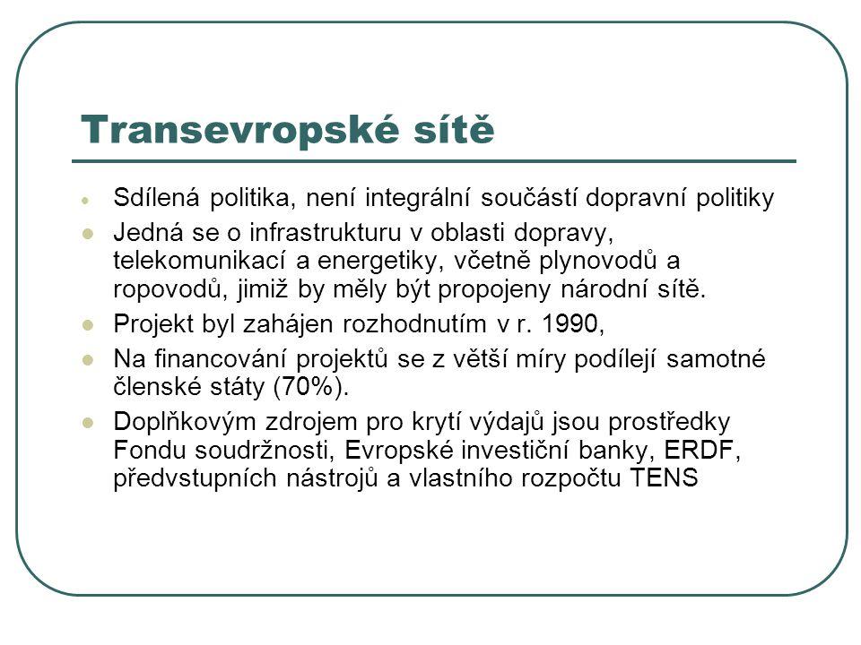 Transevropské sítě  Sdílená politika, není integrální součástí dopravní politiky Jedná se o infrastrukturu v oblasti dopravy, telekomunikací a energe