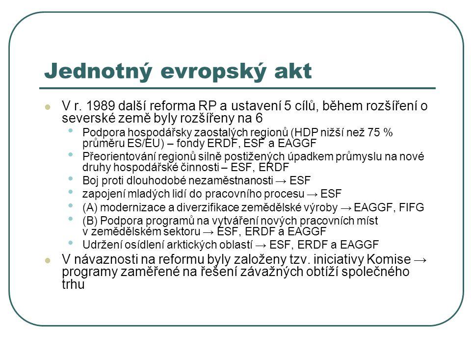 Jednotný evropský akt V r. 1989 další reforma RP a ustavení 5 cílů, během rozšíření o severské země byly rozšířeny na 6 Podpora hospodářsky zaostalých