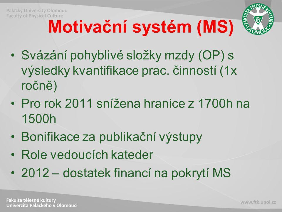 Motivační systém (MS) Svázání pohyblivé složky mzdy (OP) s výsledky kvantifikace prac.