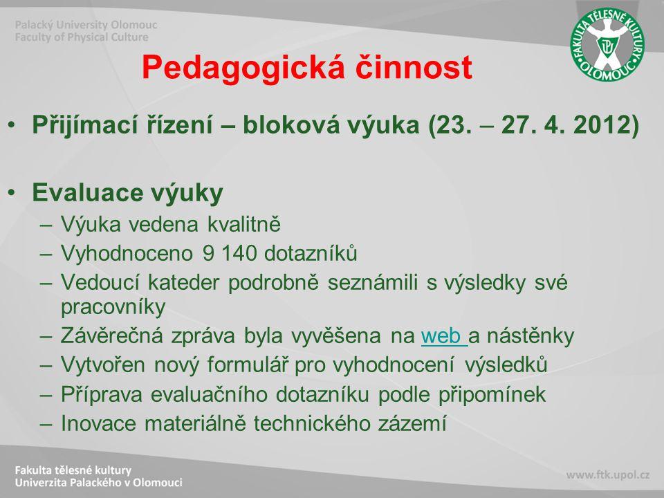 Pedagogická činnost Přijímací řízení – bloková výuka (23.