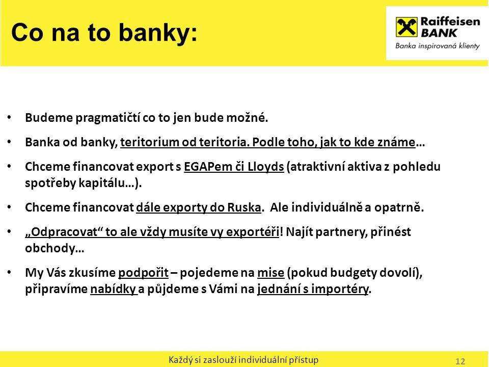 Každý si zaslouží individuální přístup Co na to banky: Budeme pragmatičtí co to jen bude možné. Banka od banky, teritorium od teritoria. Podle toho, j