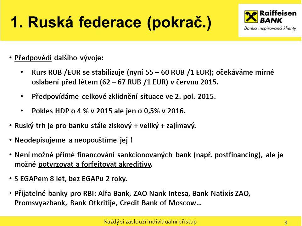 Každý si zaslouží individuální přístup Předpovědi dalšího vývoje: Kurs RUB /EUR se stabilizuje (nyní 55 – 60 RUB /1 EUR); očekáváme mírné oslabení pře