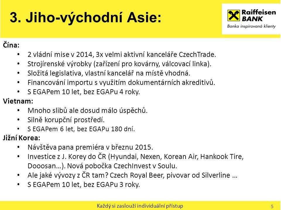 Každý si zaslouží individuální přístup 3. Jiho-východní Asie: Čína: 2 vládní mise v 2014, 3x velmi aktivní kanceláře CzechTrade. Strojírenské výrobky