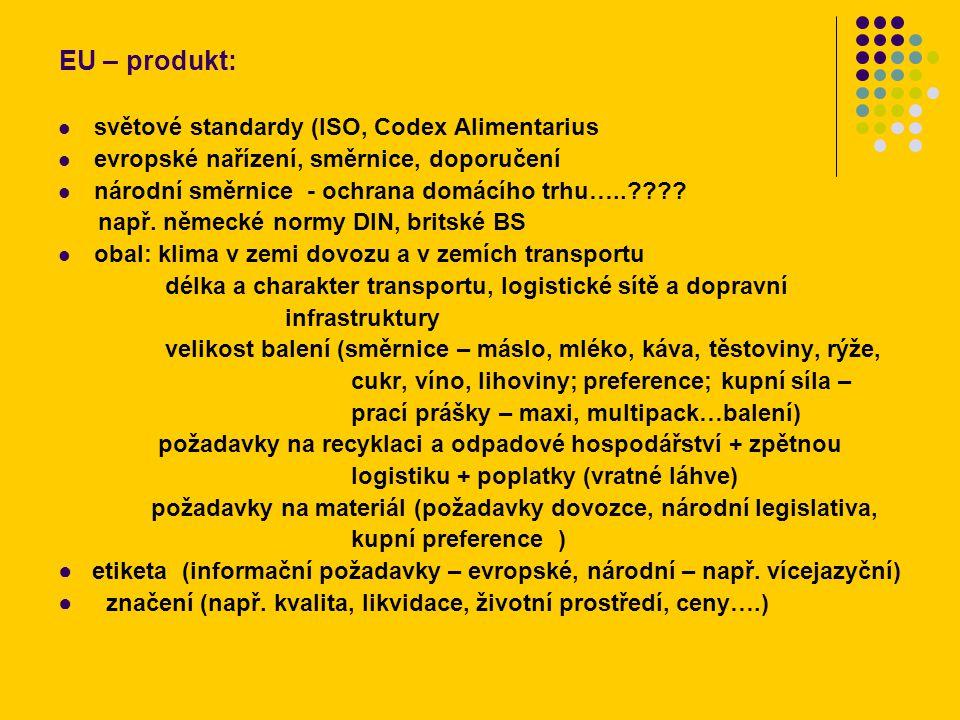 EU – produkt: světové standardy (ISO, Codex Alimentarius evropské nařízení, směrnice, doporučení národní směrnice - ochrana domácího trhu…..???? např.