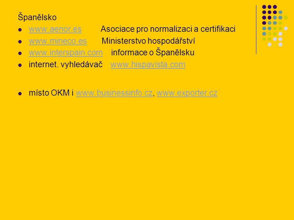 Španělsko www.aenor.es Asociace pro normalizaci a certifikaci www.aenor.es www.mineco.es Ministerstvo hospodářství www.mineco.es www.interspain.com in