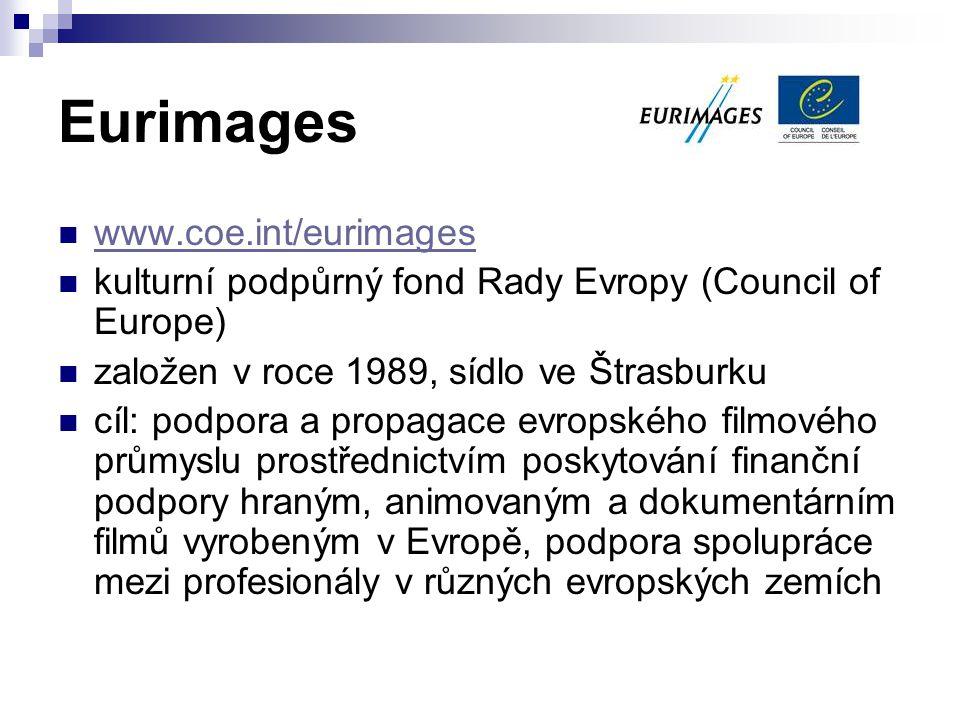 Eurimages www.coe.int/eurimages kulturní podpůrný fond Rady Evropy (Council of Europe) založen v roce 1989, sídlo ve Štrasburku cíl: podpora a propaga
