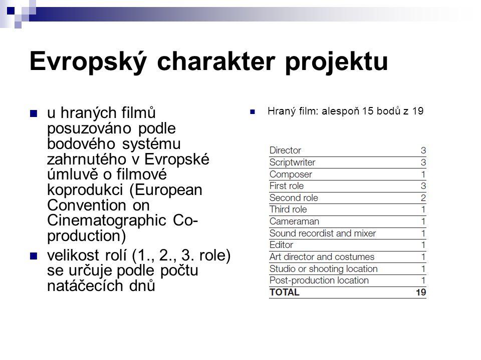 Evropský charakter projektu u hraných filmů posuzováno podle bodového systému zahrnutého v Evropské úmluvě o filmové koprodukci (European Convention o
