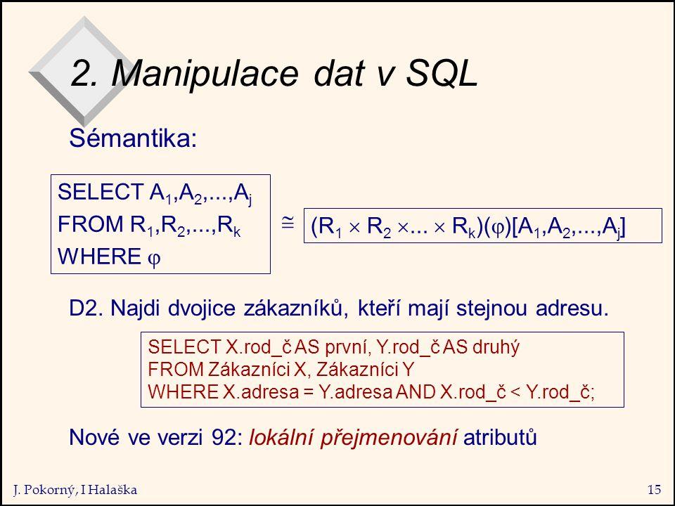J. Pokorný, I Halaška15 2. Manipulace dat v SQL Sémantika: D2.
