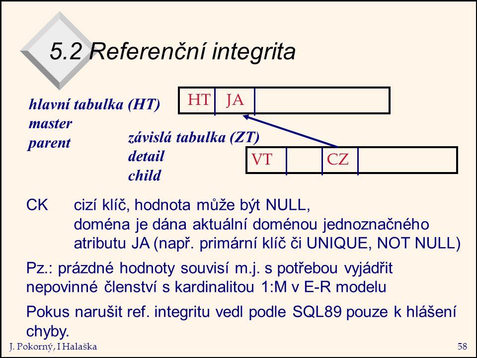 J. Pokorný, I Halaška58 5.2 Referenční integrita hlavní tabulka (HT) master parent závislá tabulka (ZT) detail child CK cizí klíč, hodnota může být NU