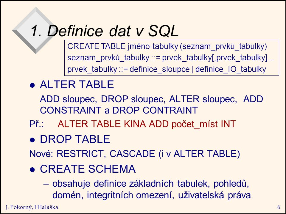 J. Pokorný, I Halaška6 1. Definice dat v SQL l ALTER TABLE ADD sloupec, DROP sloupec, ALTER sloupec, ADD CONSTRAINT a DROP CONTRAINT Př.:ALTER TABLE K