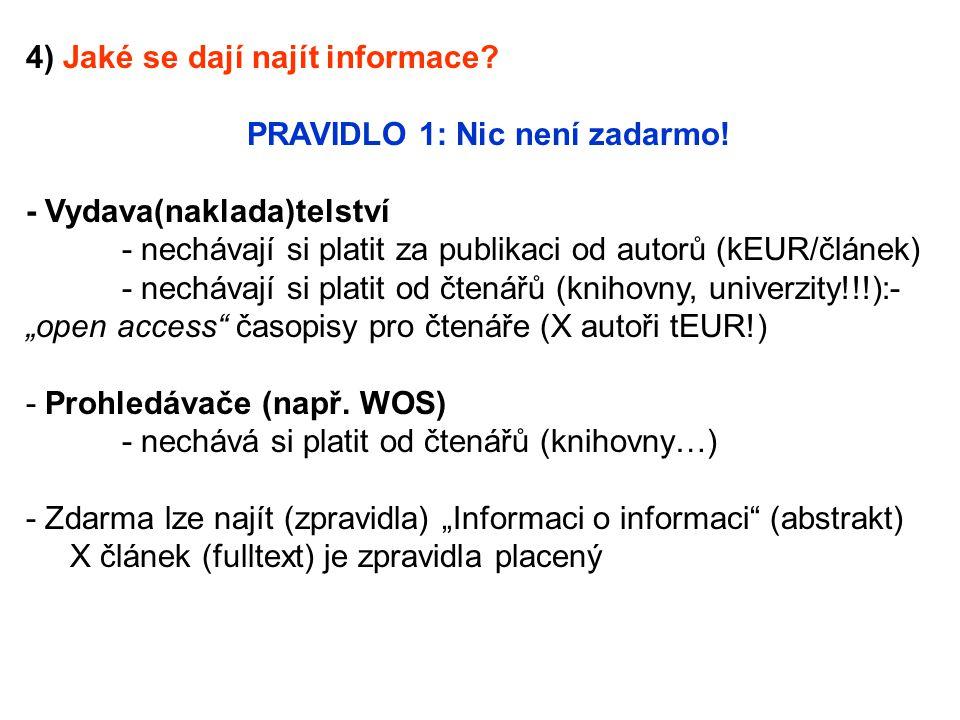 4) Jaké se dají najít informace? PRAVIDLO 1: Nic není zadarmo! - Vydava(naklada)telství - nechávají si platit za publikaci od autorů (kEUR/článek) - n