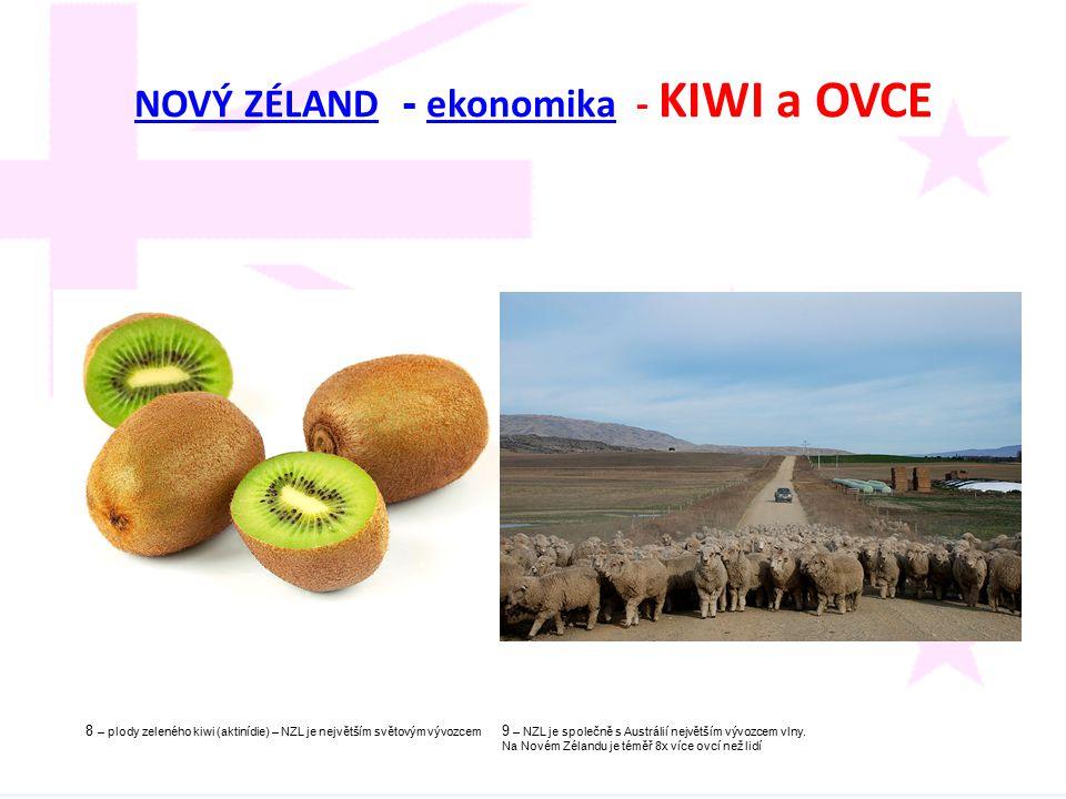 NOVÝ ZÉLANDNOVÝ ZÉLAND - ekonomika - KIWI a OVCE ekonomika 8 – plody zeleného kiwi (aktinídie) – NZL je největším světovým vývozcem 9 – NZL je společn