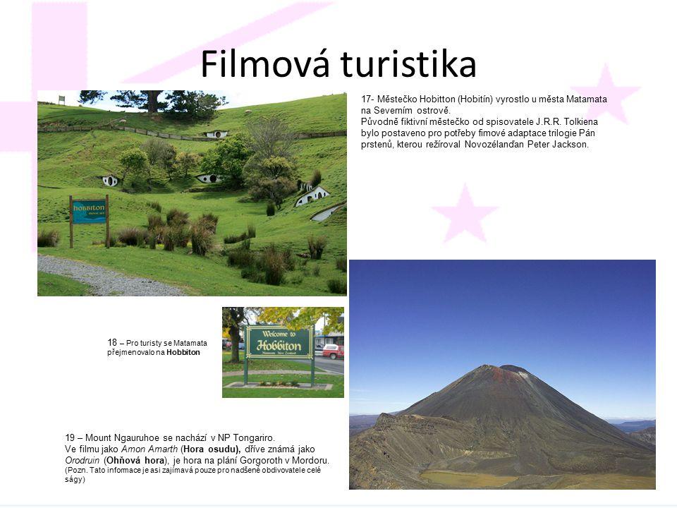 Filmová turistika 17- Městečko Hobitton (Hobitín) vyrostlo u města Matamata na Severním ostrově. Původně fiktivní městečko od spisovatele J.R.R. Tolki