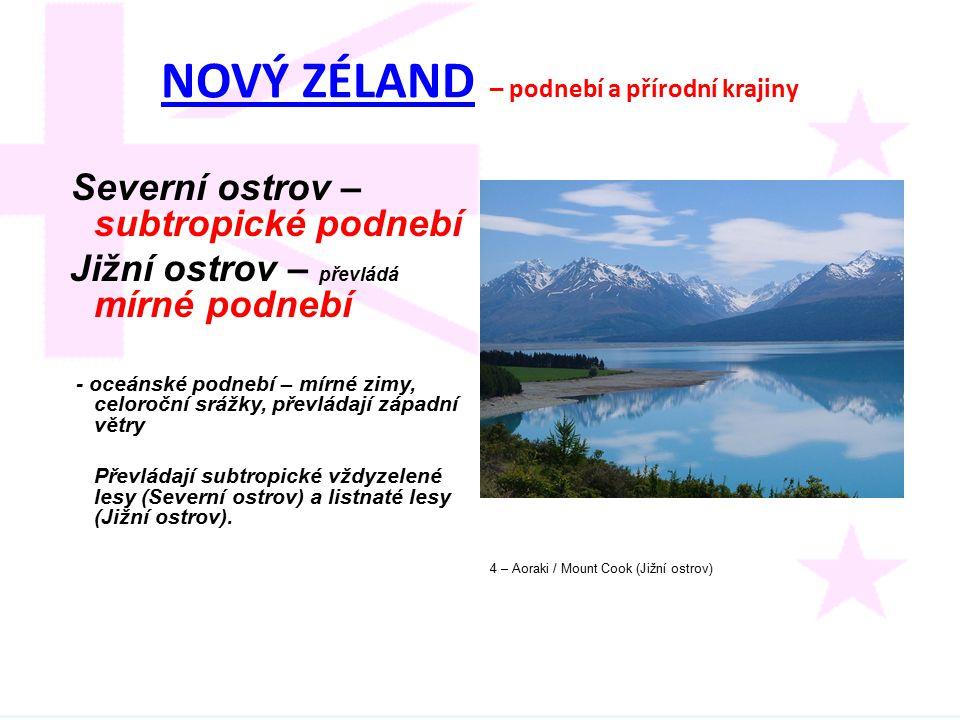 NOVÝ ZÉLANDNOVÝ ZÉLAND – podnebí a přírodní krajiny Severní ostrov – subtropické podnebí Jižní ostrov – převládá mírné podnebí - oceánské podnebí – mí