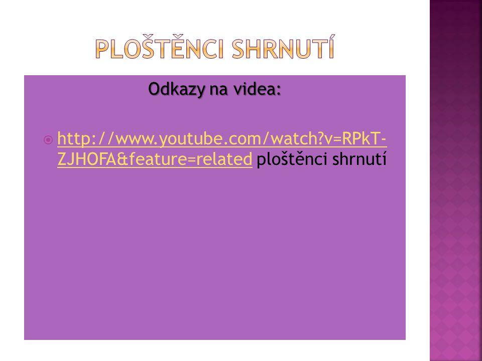 Odkazy na videa:  http://www.youtube.com/watch?v=Q5Bu XmDIJxs http://www.youtube.com/watch?v=Q5Bu XmDIJxs  http://www.youtube.com/watch?v=EEBbtwG qP