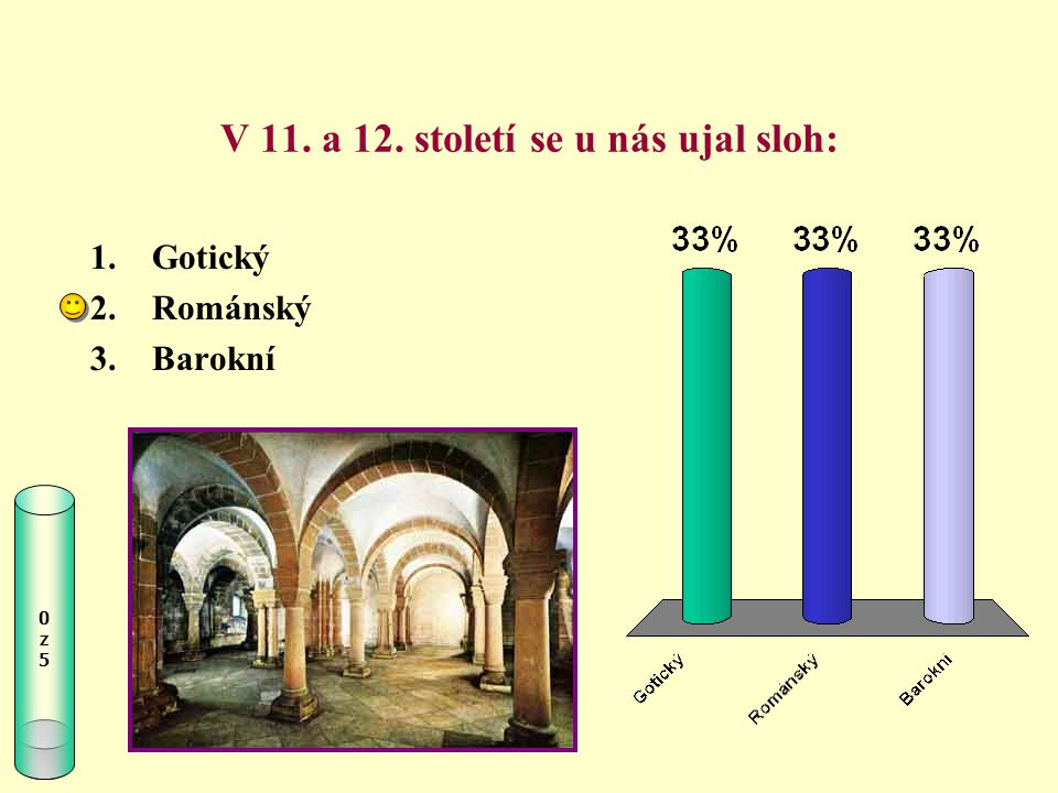 V 11. a 12. století se u nás ujal sloh: 0z50z5 1.Gotický 2.Románský 3.Barokní