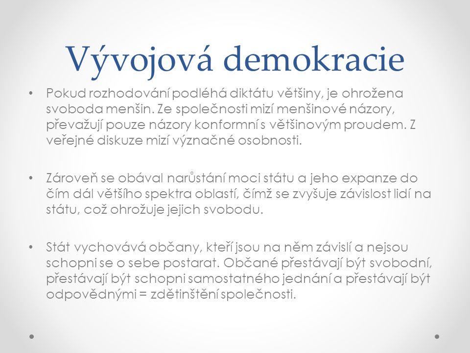 Vývojová demokracie Pokud rozhodování podléhá diktátu většiny, je ohrožena svoboda menšin. Ze společnosti mizí menšinové názory, převažují pouze názor