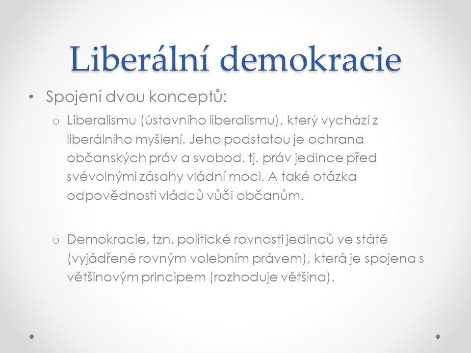 Liberální demokracie Spojení dvou konceptů: o Liberalismu (ústavního liberalismu), který vychází z liberálního myšlení. Jeho podstatou je ochrana obča
