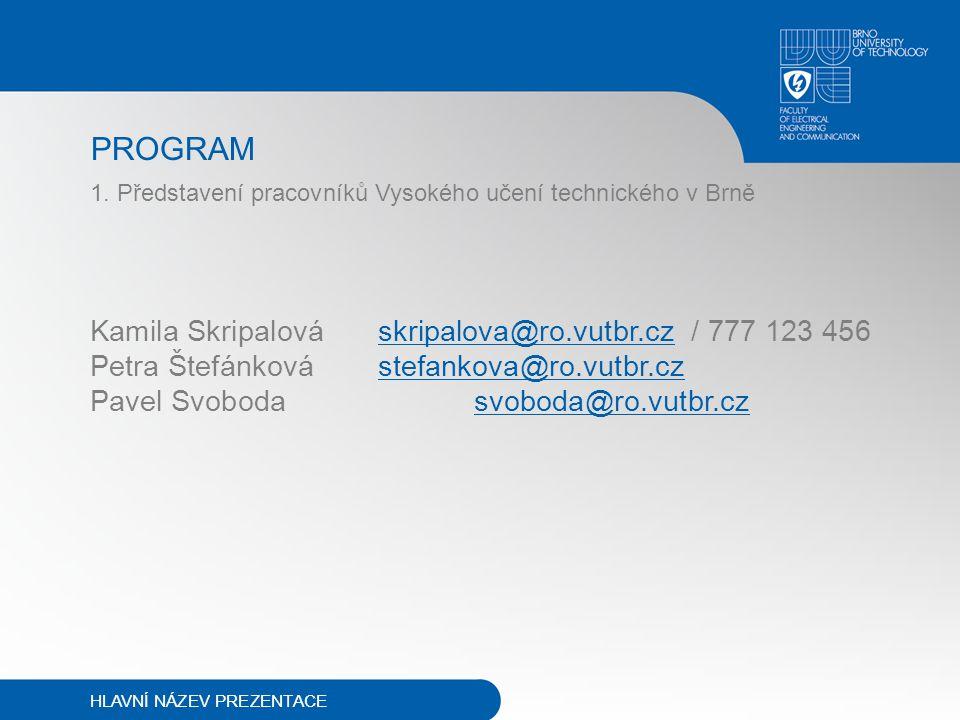 PROGRAM 1. Představení pracovníků Vysokého učení technického v Brně Kamila Skripalováskripalova@ro.vutbr.cz / 777 123 456 Petra Štefánkovástefankova@r
